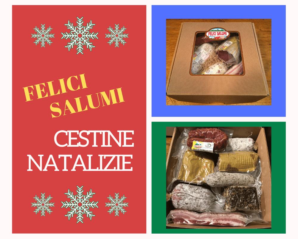 scritta di cestine natalizie con salumi stagionati misti di Felici Salumi