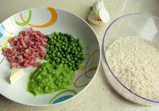 ingredienti risotto piselli sbriciolona